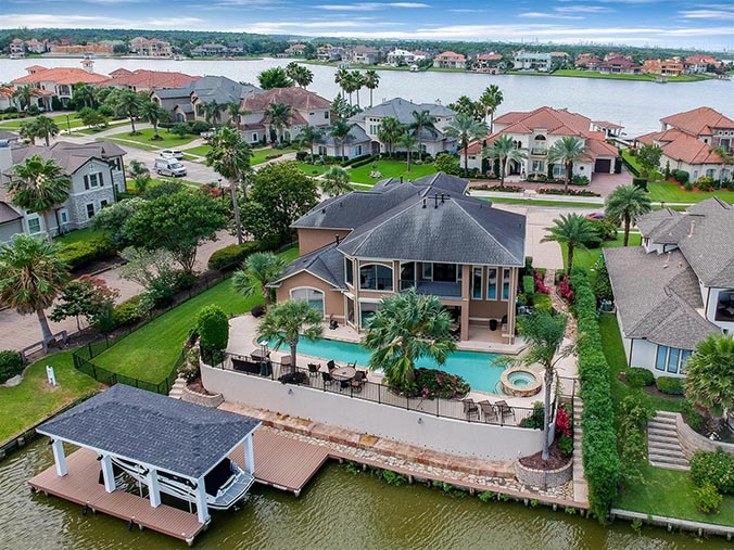 aerial photography for Pasadena, TX waterfront property